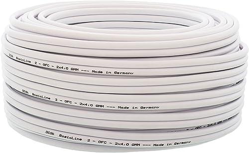 DCSk - 50m - 2 x 4mm² - Câble Audio Blanc pour Enceintes - Câble HP en Cuivre OFC pour HiFi et Hi-FI Embarquée - Fabr...