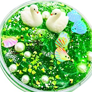 Clearance Kids Clear Slime Toys ,Glitter Putty Stress Relief Clay Toy Scented Color Ocean Fluffy Non-Toxic Mud Toy For Children Adults (Green)