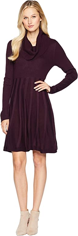 Cowl Neck Fit & Flare Sweater Dress CD8W1PU5