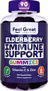Elderberry Gummies by Feel Great 365 (90 Gummies) for Adult & Kids with Immune Support* | Gluten Free Plant & Pectin Based...
