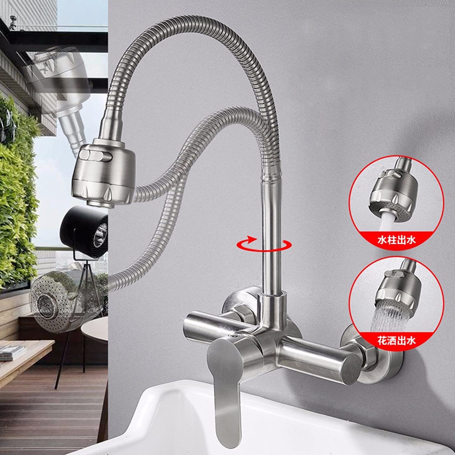 304 Stainless Steel Wall Type Kitchen Cold And Hot Tap Water Faucet,D