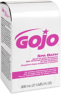 GOJO SPA BATH Body and Hair Shampoo, 800 mL SPA BATH Refill for GOJO 800 Series Bag-in-Box Push-Style Dispenser (Pack of 12) - 9152-12