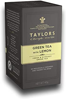 Taylors of Harrogate Green Tea with Lemon Tea Bags, 40gm (20 teabags)