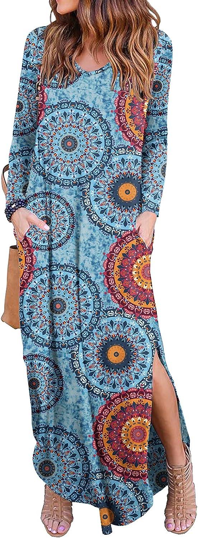 GRECERELLE Women's Casual Loose Pocket Long Dress Long Sleeve Split Maxi Dresses