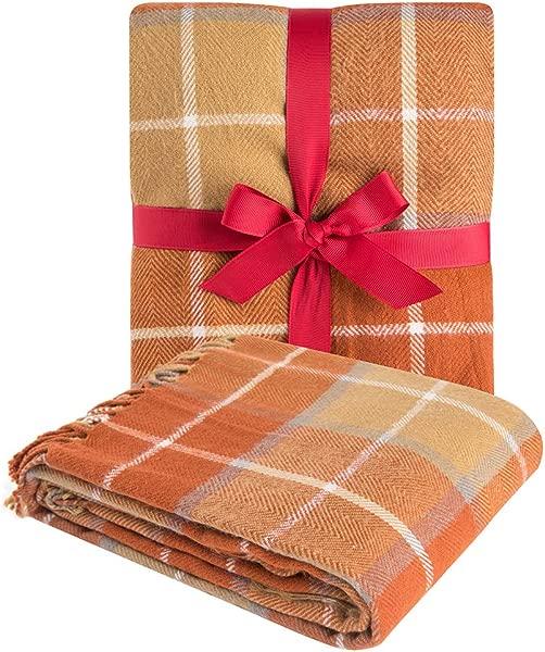 Best Orange Plaid Blanket Throw Acrylic Soft Reversible Dyed Fringed Bed Blanket For Christmas Decorations 50 W X 67 L Pumpkin Orange