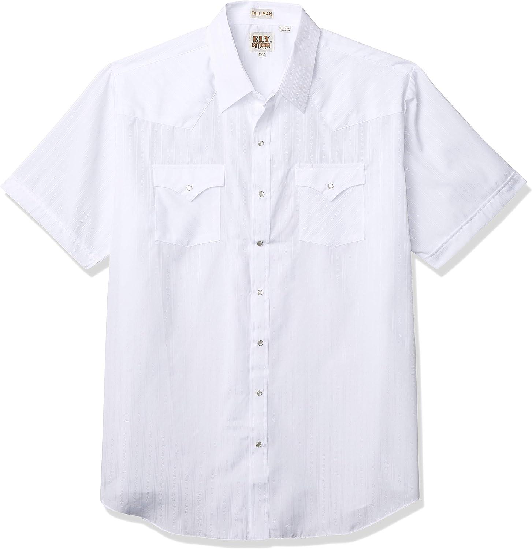 ELY CATTLEMAN Men's Tall Size Short Sleeve Tone Western Shirt