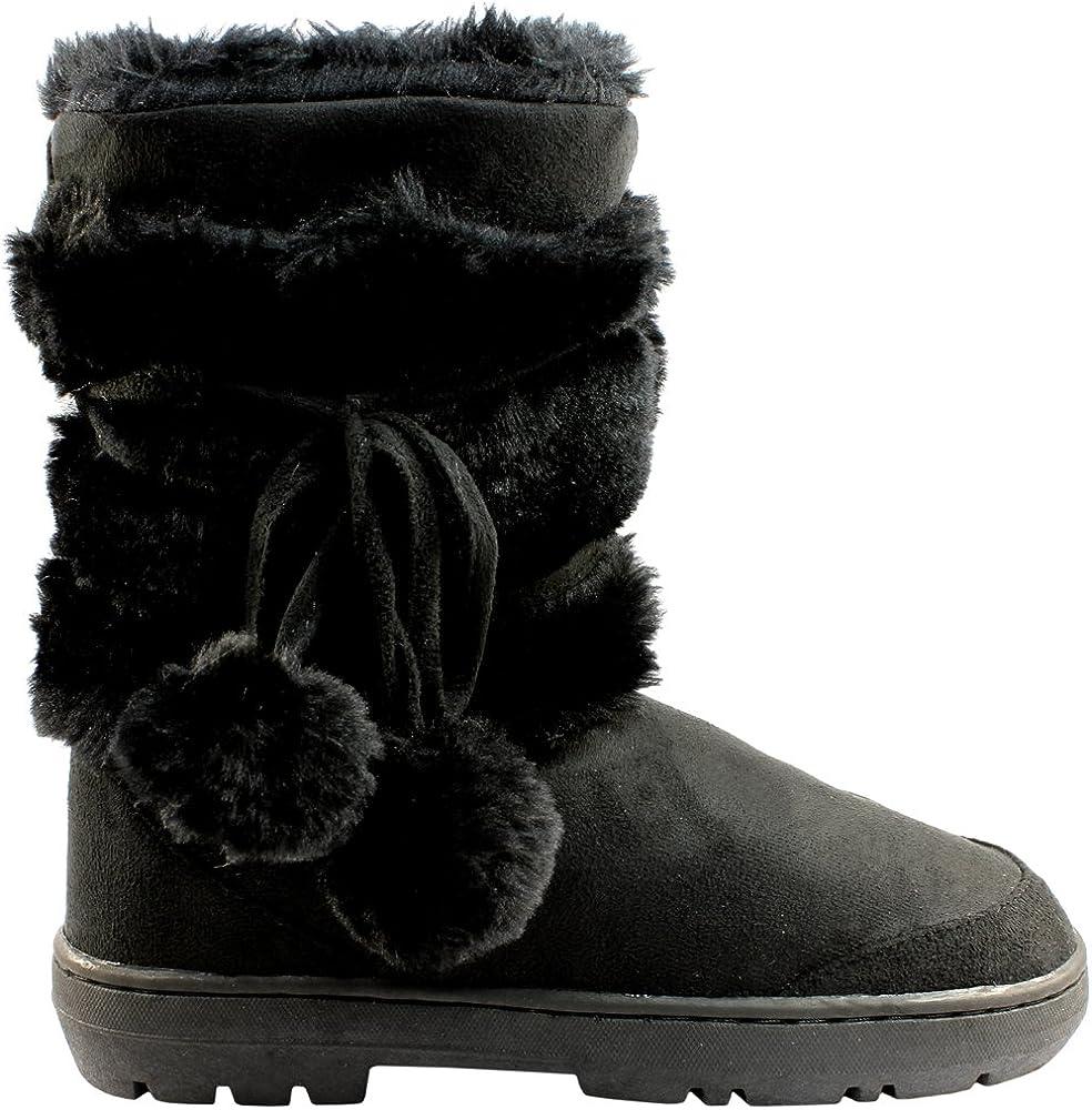 Mujer Pom Pom Corta Invierno Forrada De Piel Nieve Lluvia Zapato Botas