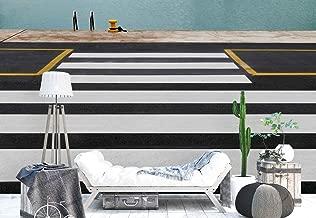 Photo wallpaper wall mural - Street Zebra Crossing Crosswalk - Theme Street & Urban - XXL - 13ft 8in x 9ft 6in (WxH) - 4 Pieces - Printed on 130gsm Non-Woven Paper - 1X-1073361VEXXXXL