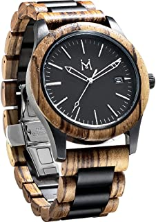 Wood Watches, Two-Tone Wooden Watches Mens Wrist Watch Waterproof 5ATM and Date Display