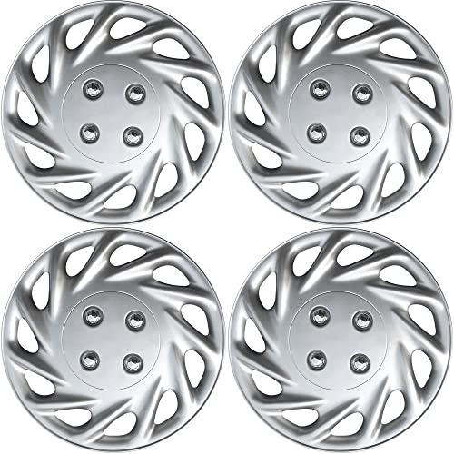 popular 13 inch Hubcaps Best for 1988-1989 Honda Prelude - high quality (Set of 4) Wheel Covers 13in Hub Caps Silver Rim Cover - Car Accessories outlet sale for 13 inch Wheels - Snap On Hubcap, Auto Tire Replacement Exterior Cap outlet online sale