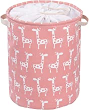 Little Funny 43L Large Capacity Thickened Canvas Fabric Storage Basket Collapsible Nursery Hamper Laundry Basket with Handles and Drawstring Closure for Kids Room,Toy Storage Organizer(Pink Giraffe)