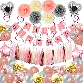 Birthday Decorations,Happy Birthday Party Supplies Rose Gold,87pcs for 16th 18th 21st 30th 50th 60th 70th Birthday Balloons Party Decoration for Women Girls