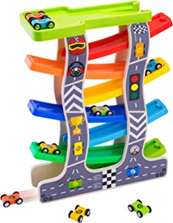 iPlay, iLearn Wooden Ramp Race Car, Track Parking Garage Set, Learning N Activity Playset with Assorted 8 Wood Racers, Mini Cars Gifts for 2, 3, 4, 5 Year Old Boys, Girls, Kids, Toddlers