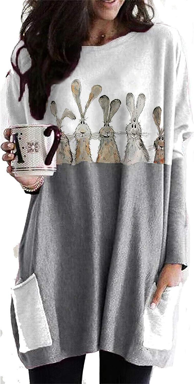 Women's Cute Rabbit Print Stitching Sweatshirt Fashion Crewneck Easter Day Bunny Shirt for Girls