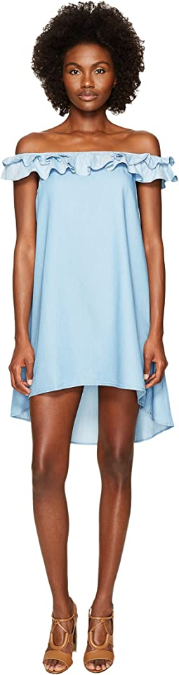 Jonathan Simkhai - Chambray Denim Off Shoulder Ruffle Dress Cover-Up