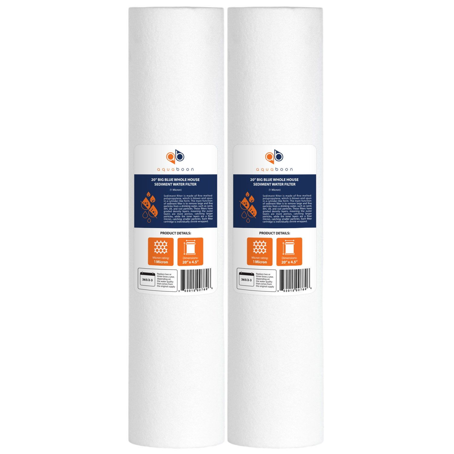 20 Big Blue 1 MICRON Whole House Water Filter 4.5 x 20 by CFS pack of 2 Pack of 2