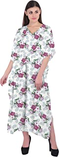RADANYA Women's Swimsuit Floral Beach Cover Up Cotton Long 3/4 Sleeve Bathing Suit Dress