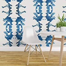 Spoonflower Non-Pasted Wallpaper, Rorschach Ink Blue White Abstract Blot Paint Brush Stroke Ikat and Print, Swatch 12in x 24in
