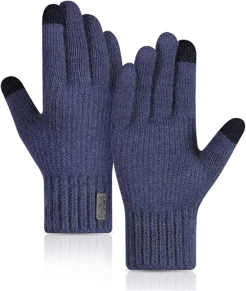 RSQJ Knitted Touch Screen Gloves for Men and Women Outdoor Gloves for Autumn and Winter Riding Plus Velvet Thick Windproof and Warm Alpaca Gloves (Color : Blue, Size : X-Large)
