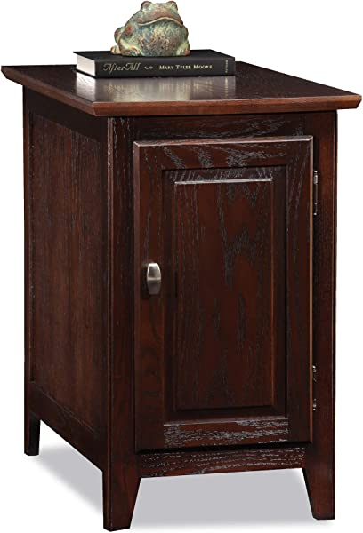 Leick Home 10072 CH Storage chair side End Table Chocolate Oak