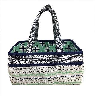 Bacati Tribal Nursery Fabric Storage Caddy with Handles, Mint/Navy