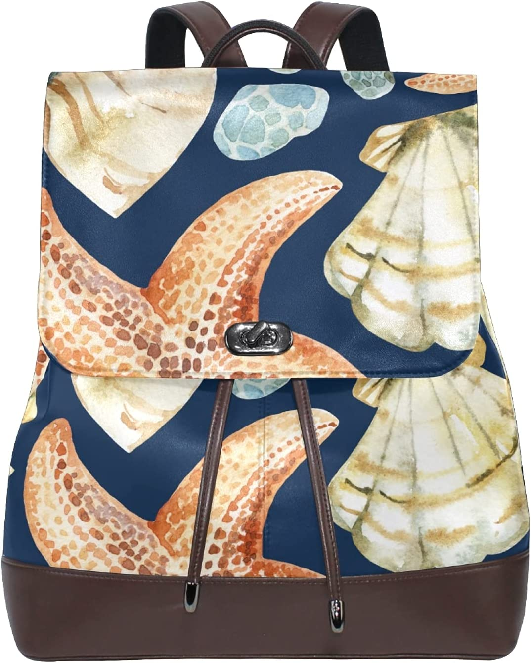 Women Leather Backpack Ladies Fashion Shoulder Bag Large Travel Bag Sea Shells And Starfishes