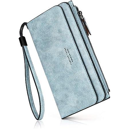 PU-Leder Damen-geldbörse Lang Portmonee Große Kapazität Geldbeutel Damen RFID-Schutz Elegant Clutch für Frauen (Handschlaufe) Blau