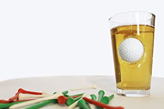 Golf Pint Glass with a Real Golf Ball Crashing Through - 16 ounce Golf Beer Glass Novelty Golf Beer Glass makes a perfect Present
