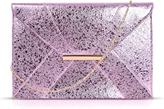 Anna Smith Women Envelope Clutch with Chain Strap Magnet Hook Ladies Faux Suede Purse with Pocket