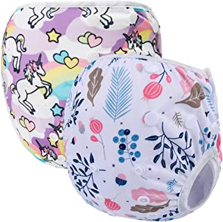 Storeofbaby 2pcs Baby Swim Diapers Waterproof Cover for Girls and Boys (Circle Leaf)…