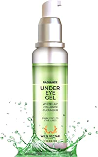 Wild Nectar Organic Radiance Under Eye Cream Gel (30 ML) For Dark Circle, Puffiness, Fine lines, & Wrinkles With White Lil...