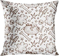 Suike Throw Pillow Cover 16x16 Inch Square Halloween Elements Bones Devil Horrors Darkness Scary Macabre Spooky Hidden Zipper Home Sofa Decorative Cushion Case Polyester Two Sides Printed Pillowcase