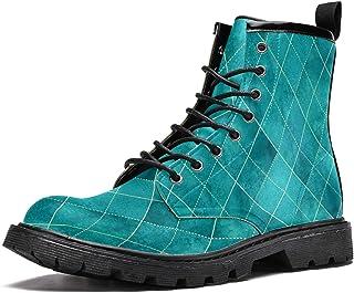 Bottes d'hiver chaudes à lacets pour homme, adolescent, garçon - Motif géométrique abstrait à carreaux bleus
