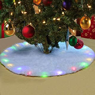 BIGOU Christmas Tree Skirt, 30 Inch Snow White Faux Fur Tree Skirt Carpet Base Floor Mat Cover Built-in LED Light 2 Lighting Modes Christmas Tree Decorations for Party Holiday Home