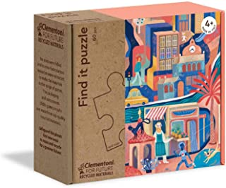 Clementoni Play for Future- Encuentra: La Ciudad Puzzle, 60 Piezas, Multicolor (16222)