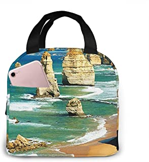 Insulated Lunch Bag for Women Men Twelve Apostles Australia, Reusable Lunch Tote Lunch Box Organizer Cooler Bag with Front Pocket for Work Travel Picnic