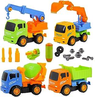 deAO YINHUA Camiones de Construcción para Montar y Desmontar Conjunto de 4 Camiones - Vehículos de Montaje Incluye Camiones y Destornillador (Multicolor)