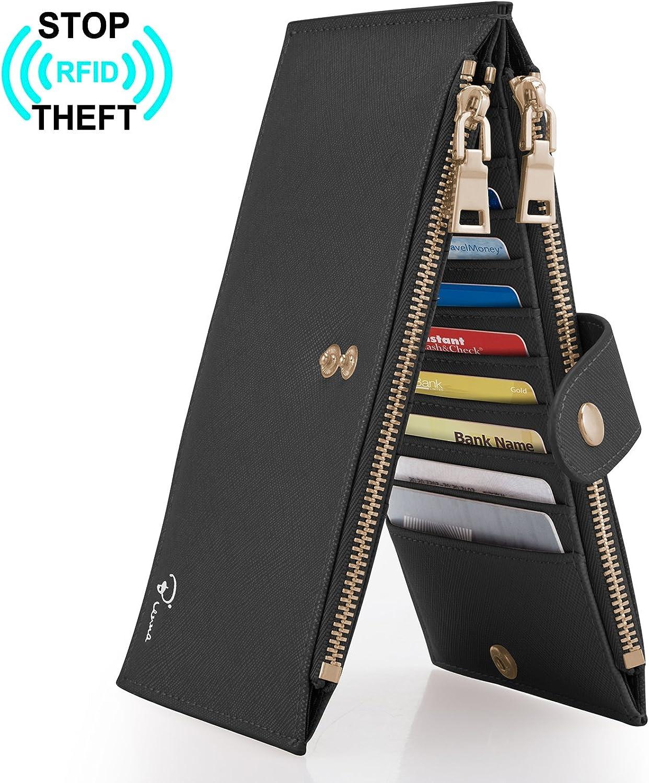 Bienna Womens Walllets RFID Blocking Bifold Long Genuine Leather w 2 Zipper
