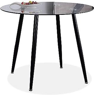 Adec - Suecia Mesa de Comedor Redonda Mesa de salón acabada en Cristal y Patas Negras Medidas: 75 cm (Alto) x 100 cm (d...