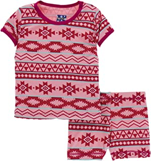 Little Girls Print Short Sleeve Pajama Set with Shorts - Strawberry Mayan Pattern, 3T