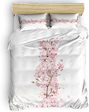 FAMILYDECOR Luxury Bedding Duvet Cover Twin Size 4PCS,Super Soft Washed Microfiber Quilt Cover with Zipper Closure for Home D
