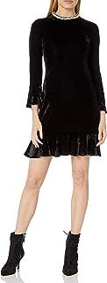 Women's Velvet Dress with Pearl Collar