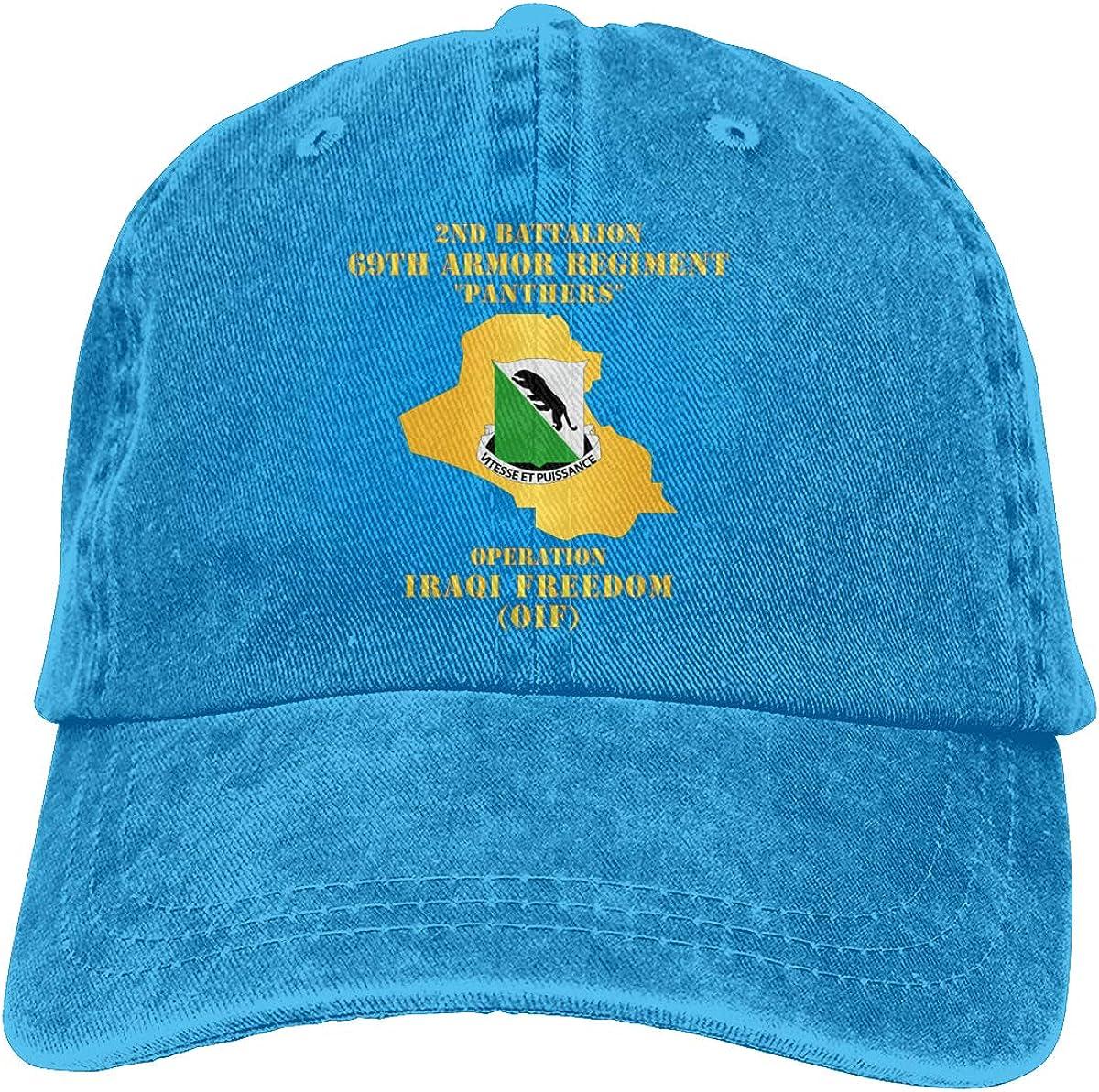 Unisex 2nd Bn 69th Armor REGT Vintage Washed Distressed Cotton Baseball Cap Adjustable Denim Dad Hat