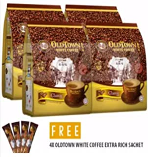 4 Pack Old Town White Coffee 3 in 1 Classic ( 60 Sticks ) Free 4 Extra Sachets
