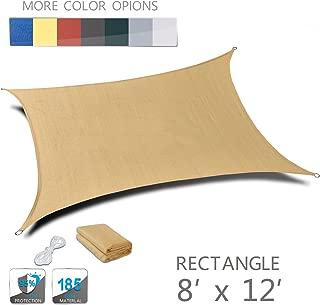 Love Story 8' x 12' Rectangle Sand UV Block Sun Shade Sail Perfect for Outdoor Patio Garden
