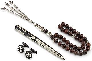 طقم هدية فاخرة للرجال قلم وكبك مع مسبحة فضي أسود من GRYفون