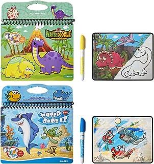 JANTODEC 2 Pack Aqua Magic Water Panting Books Reusable Water Doodle Books Drawing Coloring Educational Toy Birthday Gifts...