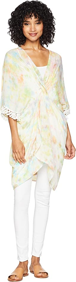 Mermaid Tie-Dye Twist Front Poncho