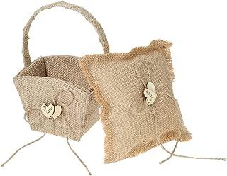 Decdeal Double Heart Ring Bearer Pillow and Rustic Wedding Flower Girl Basket Set 6 x 6 inches