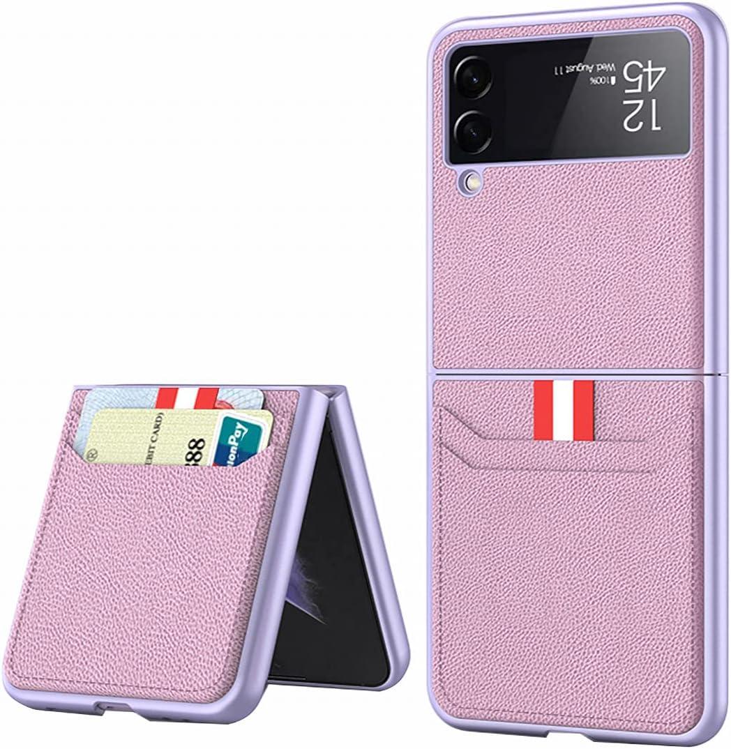 FUTURECASE Galaxy Z Flip 3 Case, Z Flip 3 5G Phone Case, Samsung z Flip 3 Case, PU Leather Wallet Card Holder Case for Samsung Galaxy z Flip 3 Samsung ZFlip 3 ZFlip3 Z Flip3 Coque Funda Cover(Pink)